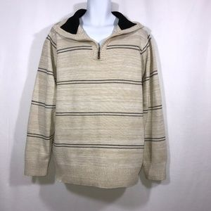 NWT Phita Pronti Cream Striped 1/4 ZIP Sweater XXL